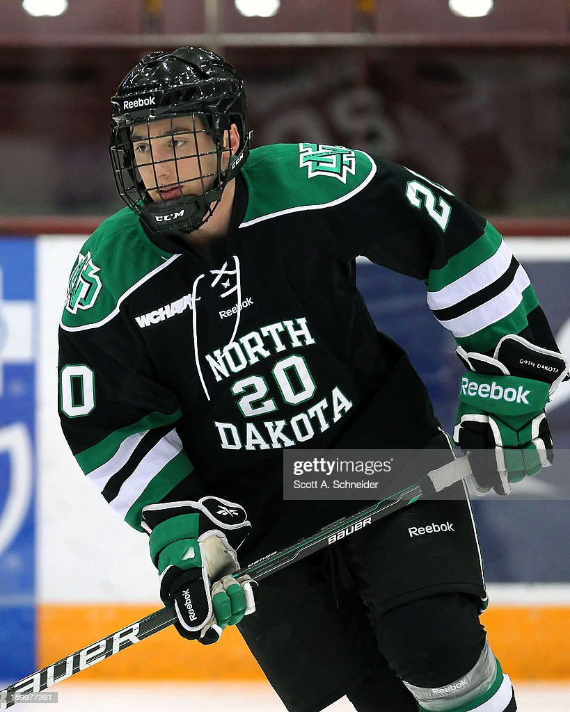 Joe Gleason #20 of North Dakota warms up before a game with Minnesota January 19, 2013 at Mariucci Arena in Minneapolis, Minnesota.