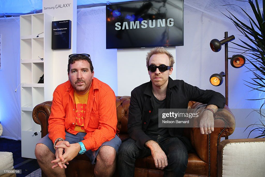 Joe Goddard and Al Doyle of Hot Chip attend the Samsung Galaxy Artist Lounge at Lollapalooza on August 2, 2013 in Chicago City.