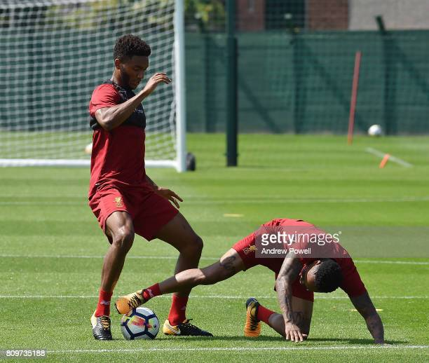 Joe Gomez and Nathaniel Clyne of Liverpool during a training session at Melwood Training Ground on July 6 2017 in Liverpool England