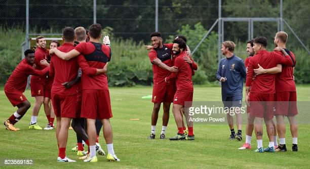 Joe Gomez Mohamed Salah Ovie Ejaria and Jon Flanagan of Liverpool during a training session at RottachEgern on July 27 2017 in Munich Germany