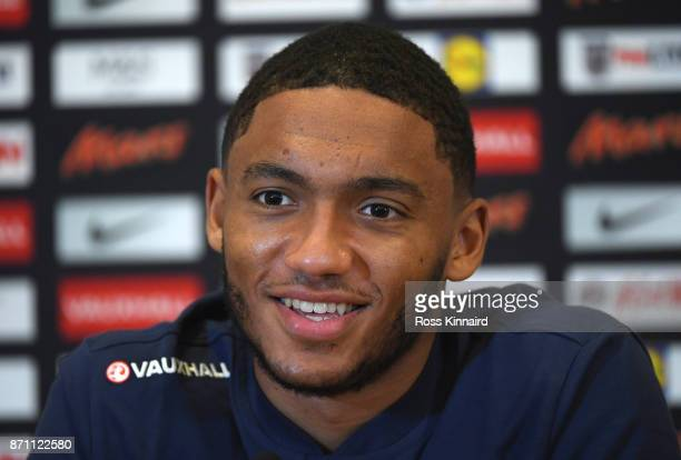 Joe Gomez of England speaks to the media during a England media open day at St Georges Park on November 6 2017 in BurtonuponTrent England