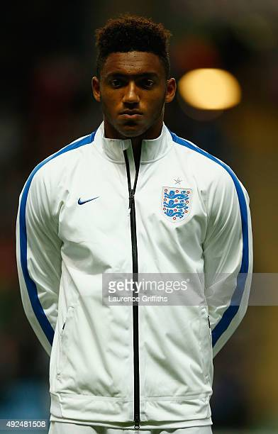 Joe Gomez of England U21 lines up for the National Anthem during the European Under 21 Qualifier between England U21 and Kazakhstan U21 at Ricoh...