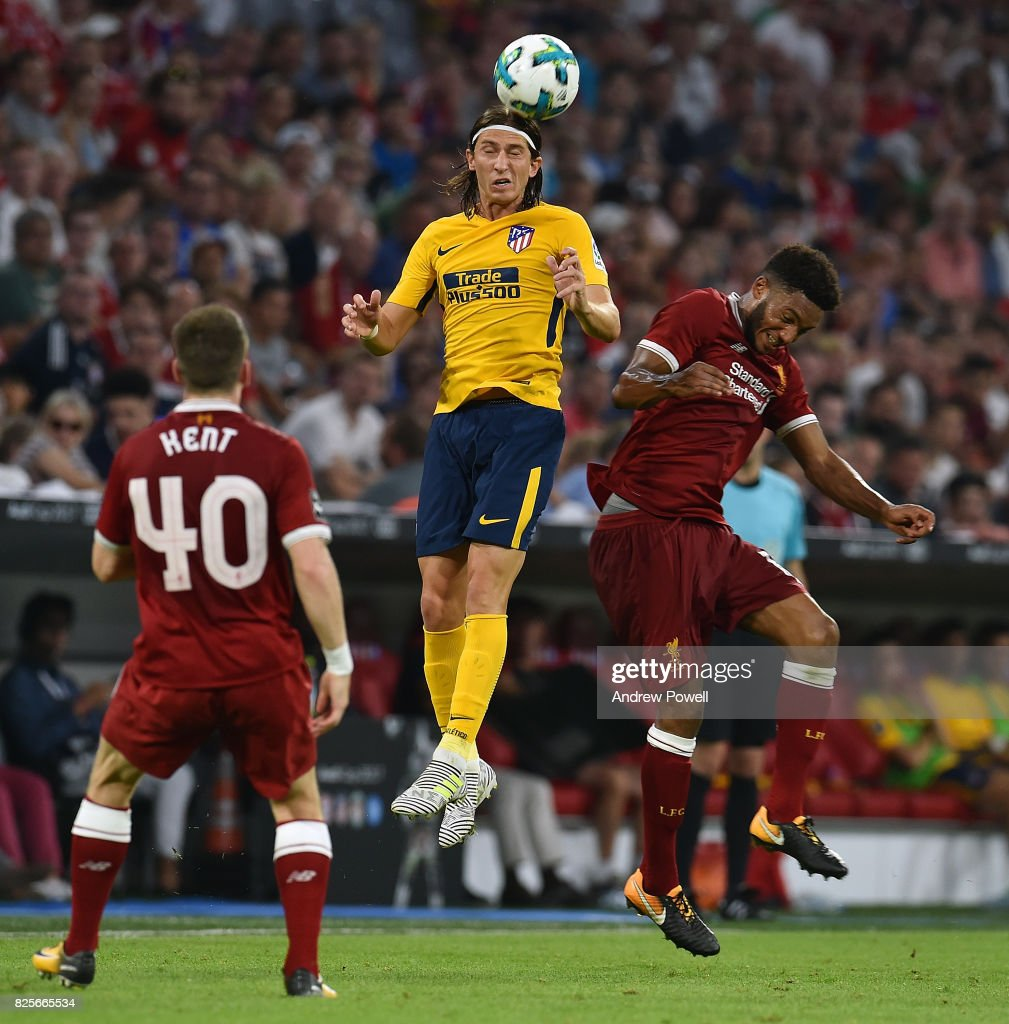 Joe Gomez of Liveprool and Filipe Luis of Atletico Madrid during the Audi Cup 2017 match between Liverpool FC and Atletico Madrid at Allianz Arena on August 2, 2017 in Munich, Germany.