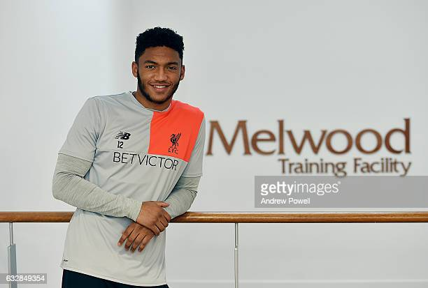 Joe Gomez of Liverpool after signing a new contract at Melwood Training Ground on January 27 2017 in Liverpool England