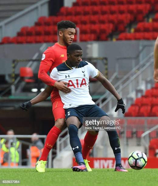 Joe Gomez of Liverpool and Shilow Tracey of Tottenham Hotspur in action during Premier League 2 match between Liverpool and Tottenham Hotspur at...