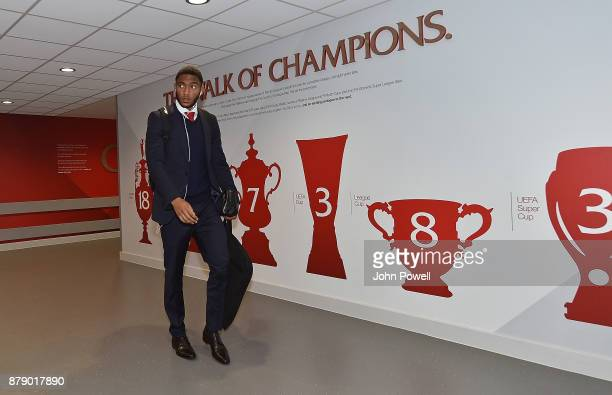 Joe Gomez of Liverpool arrives before the Premier League match between Liverpool and Chelsea at Anfield on November 25 2017 in Liverpool England