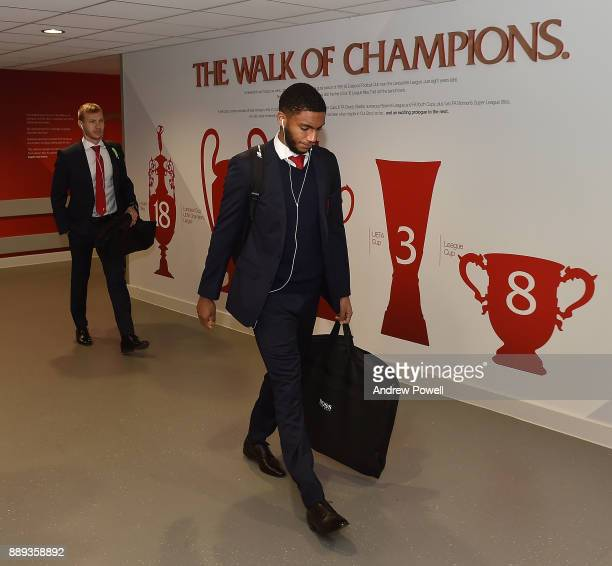 Joe Gomez of Liverpool arrives before the Premier League match between Liverpool and Everton at Anfield on December 10 2017 in Liverpool England