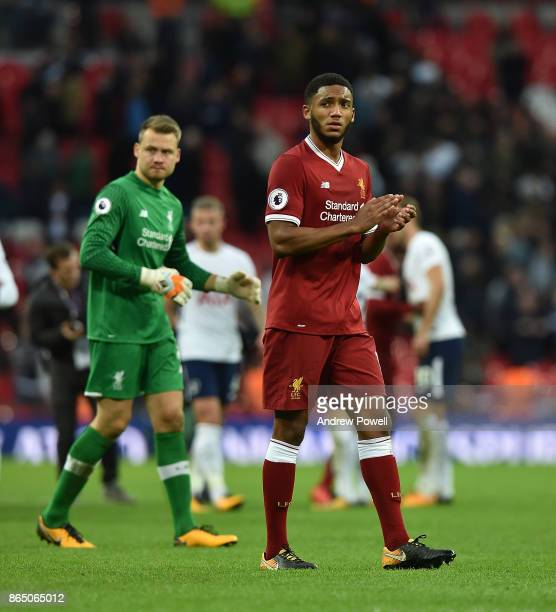 Joe Gomez of Liverpool at the end of the Premier League match between Tottenham Hotspur and Liverpool at Wembley Stadium on October 22 2017 in London...
