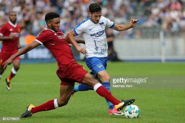 Joe Gomez of Liverpool battles for the ball with Mathew Leckie of Berlin during the pre season friendly match between Hertha BSC and FC Liverpool at...