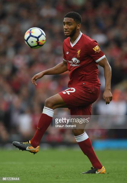 Joe Gomez of Liverpool controls the ball during the Premier League match between Liverpool and Manchester United at Anfield on October 14 2017 in...
