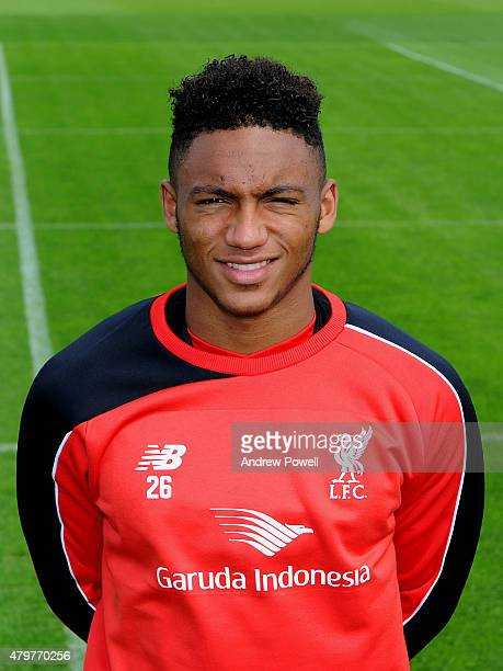Joe Gomez of Liverpool during a portrait shoot at Melwood Training Ground on July 7 2015 in Liverpool England