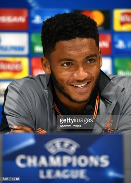 Joe Gomez of Liverpool during a press conference session at Melwood Training Ground on September 12 2017 in Liverpool United Kingdom