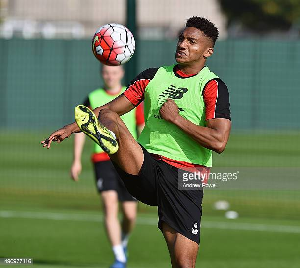 Joe Gomez of Liverpool during a training session at Melwood Training Ground on October 2 2015 in Liverpool England