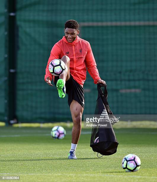 Joe Gomez of Liverpool during a training session at Melwood Training Ground on October 19 2016 in Liverpool England
