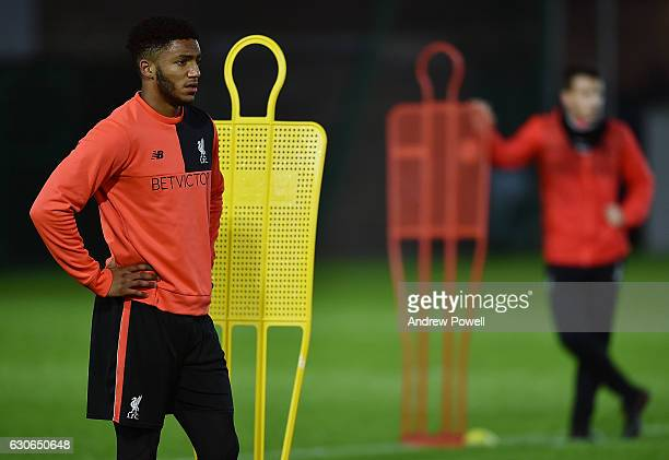 Joe Gomez of Liverpool during a training session at Melwood Training Ground on December 29 2016 in Liverpool England
