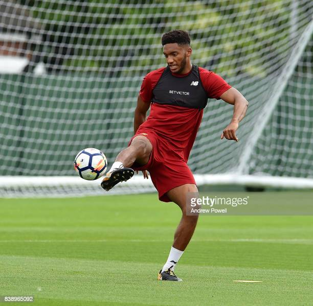 Joe Gomez of Liverpool during a training session at Melwood Training Ground on August 25 2017 in Liverpool England