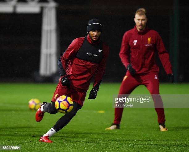 Joe Gomez of Liverpool during a training session at Melwood Training Ground on November 27 2017 in Liverpool England