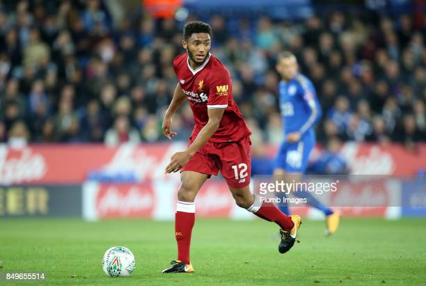 Joe Gomez of Liverpool during the Carabao Cup third round match between Leicester City and Liverpool at King Power Stadium on September 19 2017 in...