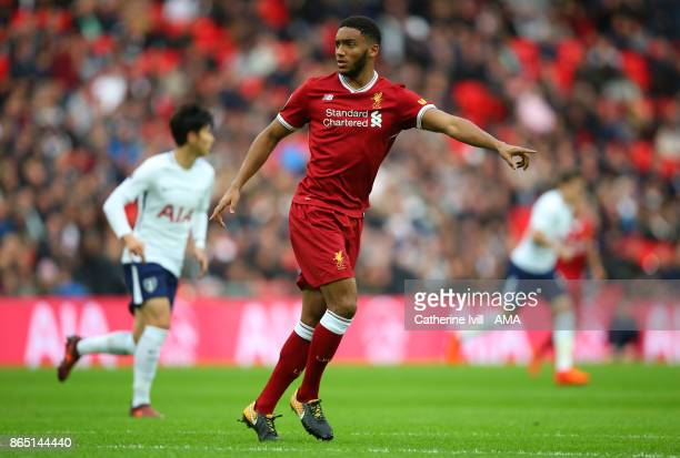 Joe Gomez of Liverpool during the Premier League match between Tottenham Hotspur and Liverpool at Wembley Stadium on October 22 2017 in London England