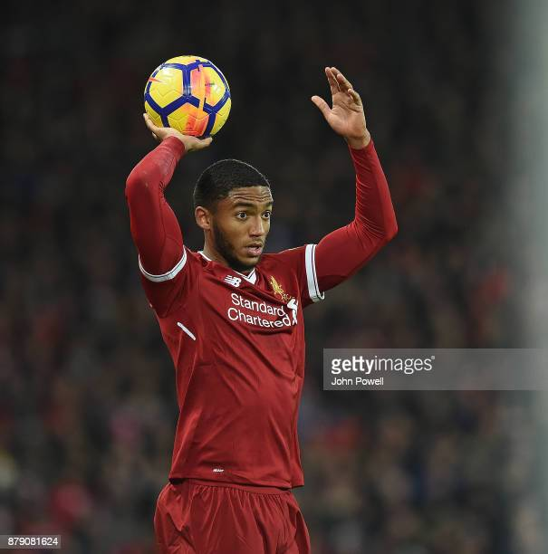 Joe Gomez of Liverpool during the Premier League match between Liverpool and Chelsea at Anfield on November 25 2017 in Liverpool England