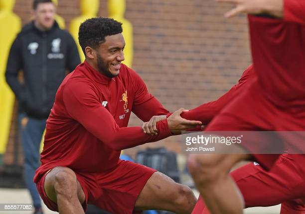 Joe Gomez of Liverpool during training at Melwood Training Ground on September 29 2017 in Liverpool England