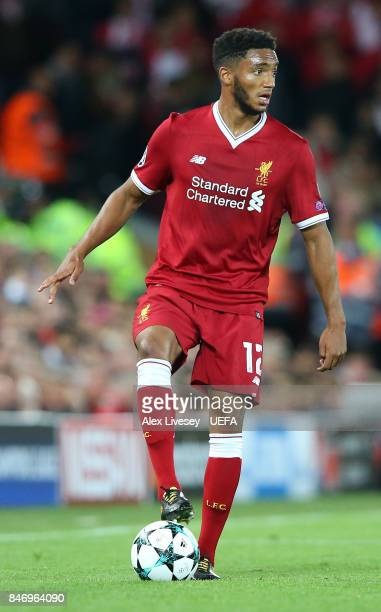Joe Gomez of Liverpool FC during the UEFA Champions League group E match between Liverpool FC and Sevilla FC at Anfield on September 13 2017 in...