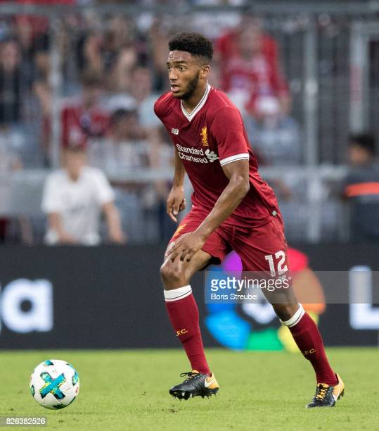 Joe Gomez of Liverpool FC runs with the ball during the Audi Cup 2017 match between Liverpool FC and Atletico Madrid at Allianz Arena on August 2...