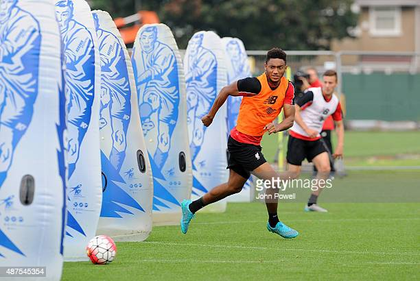 Joe Gomez of Liverpool in action during a training session at Melwood Training Ground on September 10 2015 in Liverpool England