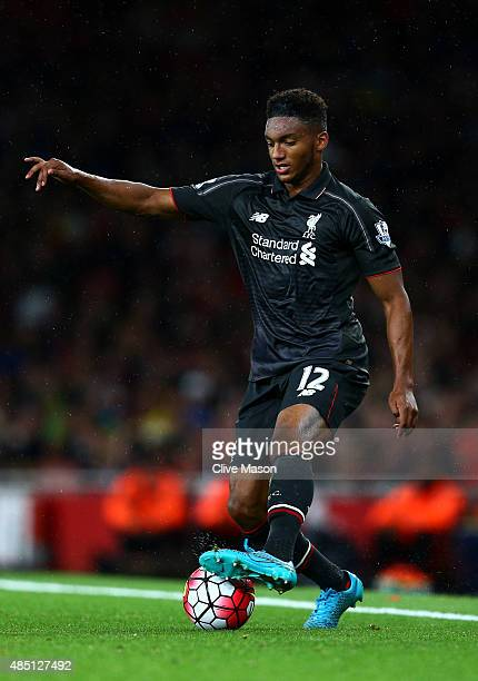 Joe Gomez of Liverpool in action during the Barclays Premier League match between Arsenal and Liverpool at the Emirates Stadium on August 24 2015 in...