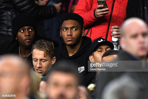 Joe Gomez of Liverpool looks on from the stands during the UEFA Champions League Group C match between FC Barcelona and VfL Borussia Moenchengladbach...