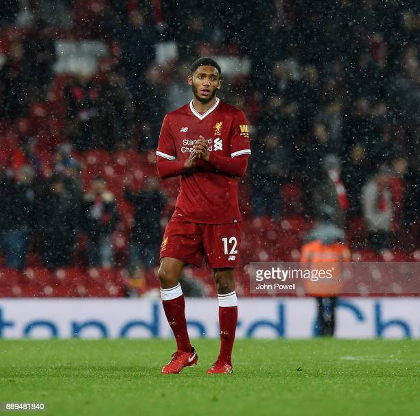 Joe Gomez of Liverpool shows his appreciation to the fans at the end of the Premier League match between Liverpool and Everton at Anfield on December...