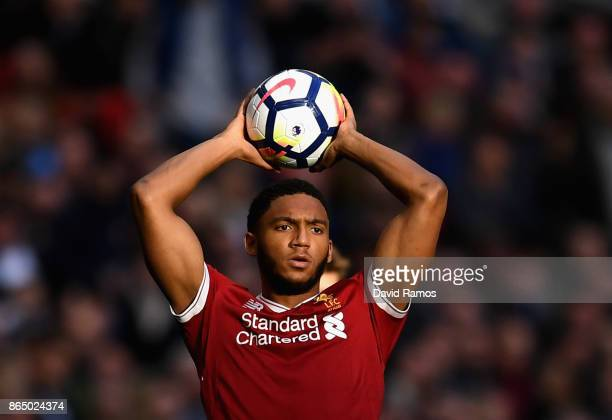 Joe Gomez of Liverpool takes a throw in during the Premier League match between Tottenham Hotspur and Liverpool at Wembley Stadium on October 22 2017...