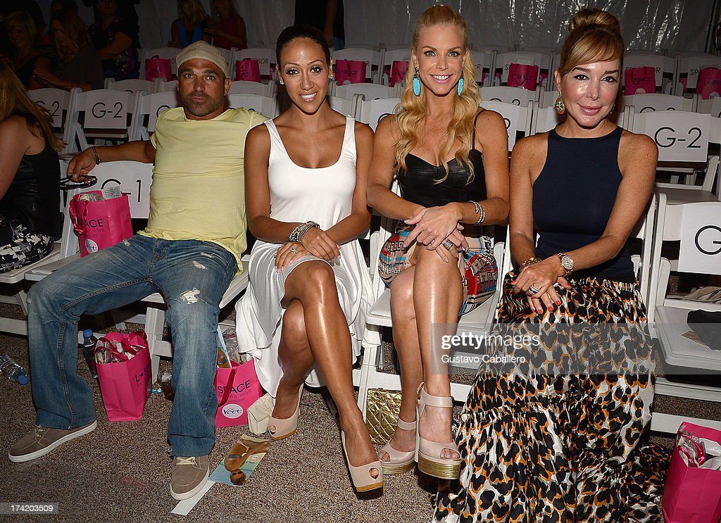 Joe Gorga, <a gi-track='captionPersonalityLinkClicked' href=/galleries/search?phrase=Melissa+Gorga&family=editorial&specificpeople=7306775 ng-click='$event.stopPropagation()'>Melissa Gorga</a>, Alexia Echevarria and <a gi-track='captionPersonalityLinkClicked' href=/galleries/search?phrase=Marysol+Patton&family=editorial&specificpeople=4422681 ng-click='$event.stopPropagation()'>Marysol Patton</a> pose with Ipanema at the L*SPACE By Monica Wise show during Mercedes-Benz Fashion Week Swim 2014 at Cabana Grande at the Raleigh on July 21, 2013 in Miami, Florida.