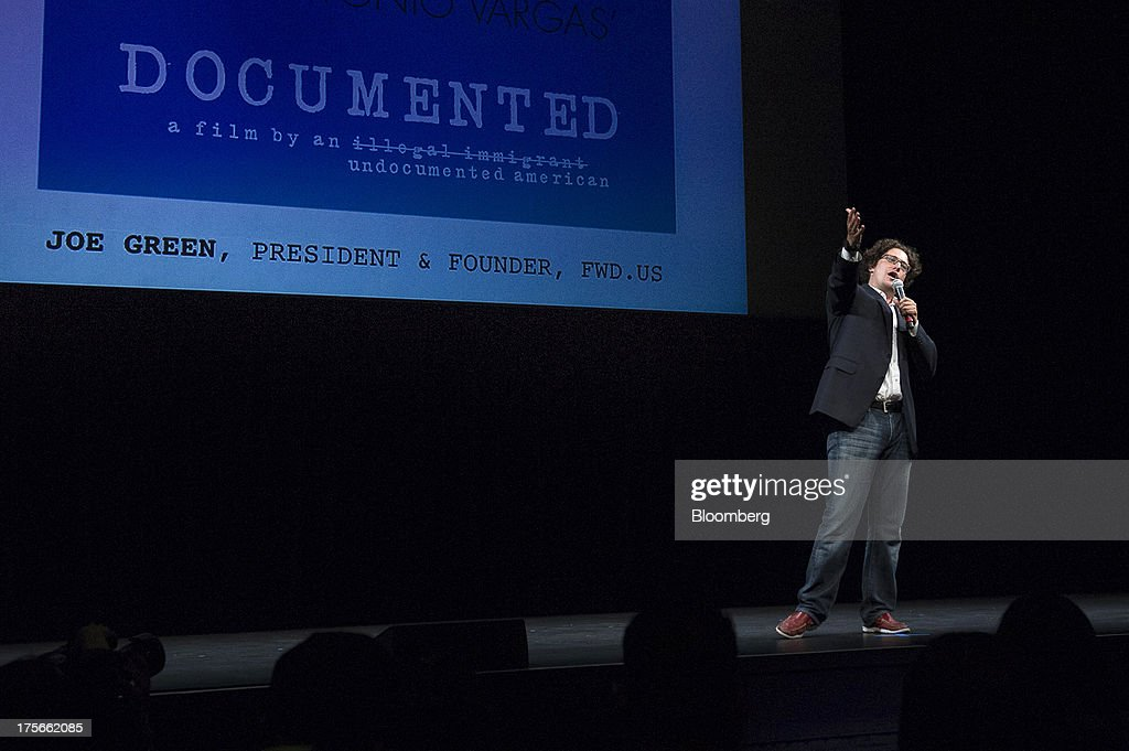 Joe Green, president and co-founder of FWD.us, speaks prior to a screening of 'Documented' in San Francisco, California, U.S., on Monday, Aug. 5, 2013. 'Documented' is a film written and directed by Jose Antonio Vargas, an undocumented immigrant. Photographer: David Paul Morris/Bloomberg via Getty Images