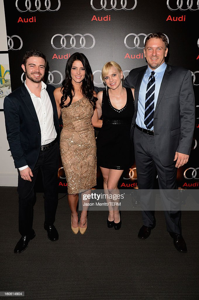 Joe Greene, Ashley Greene, Anna Faris and Robert Faris attend the Audi Forum New Orleans at the Ogden Museum of Southern Art on February 1, 2013 in New Orleans, Louisiana.