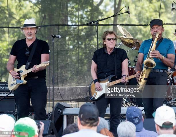Joe Grushecky joins John Cafferty and JMichael 'Tunes' Antunes at the RocklandBergen Music Festival at German Masonic Park on June 24 2017 in Tappan...