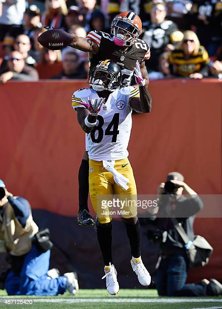 Joe Haden of the Cleveland Browns breaks up a pass intended for Antonio Brown of the Pittsburgh Steelers during the fourth quarter at FirstEnergy...
