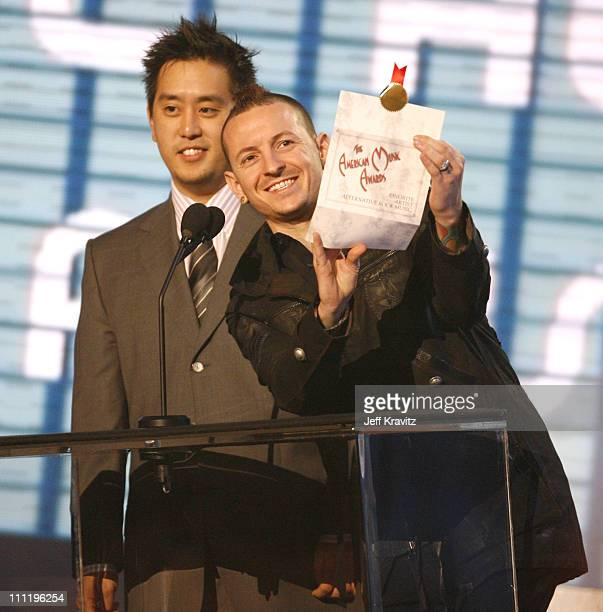 Joe Hahn and Chester Bennington of Linkin Park present the Alternative Music award