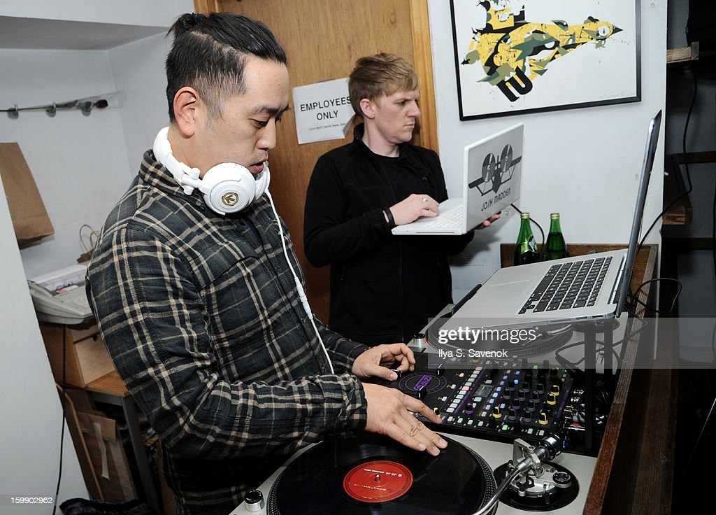 Joe Hahn and Josh Madden of Linkin Park attend Sebago and Linkin Parks launch of their collaboration at Reed Space NYC on January 22, 2013 in New York City.