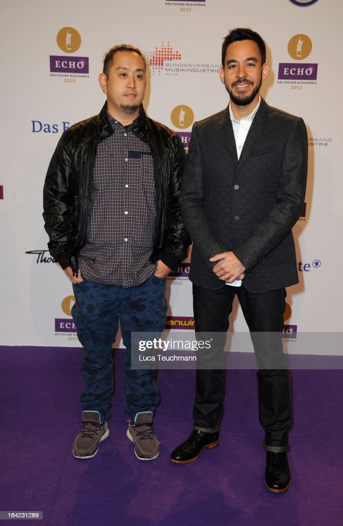 Joe Hahn and Mike Shinoda attend the Echo Award 2013 at Palais am Funkturm on March 21, 2013 in Berlin, Germany.
