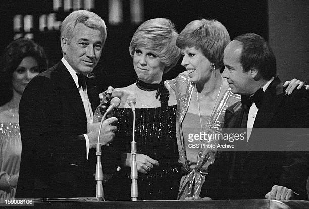 Joe Hamilton and the cast of The Carol Burnett Show' from left Vicki Lawrence Carol Burnett and Tim Conway on the 1978 People's Choice Awards show...