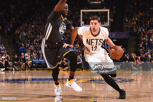 Joe Harris of the Brooklyn Nets handles the ball against the Golden State Warriors on February 25 2017 at ORACLE Arena in Oakland California NOTE TO...