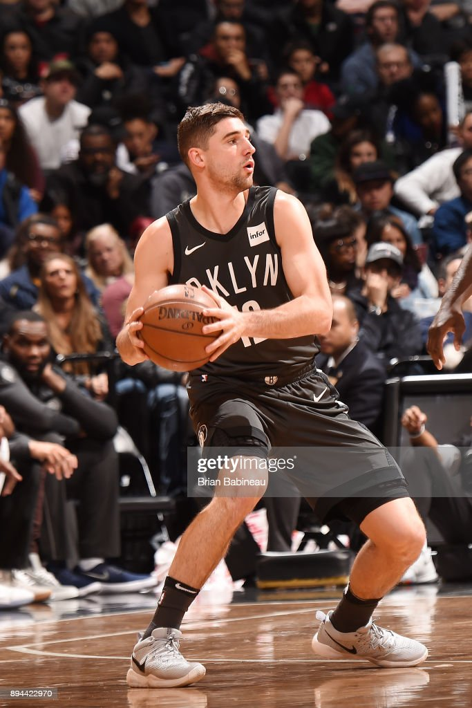 Joe Harris #12 of the Brooklyn Nets handles the ball against the Indiana Pacers on December 17, 2017 at Barclays Center in Brooklyn, New York.
