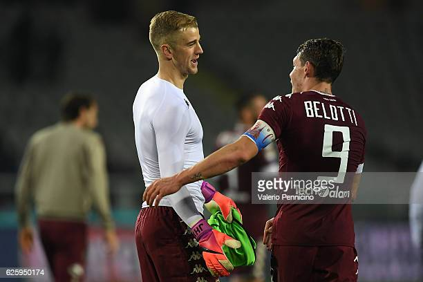 Joe Hart and Andrea Belotti of FC Torino celebrate victory at the end of the Serie A match between FC Torino and AC ChievoVerona at Stadio Olimpico...