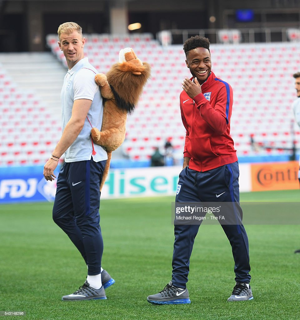 <a gi-track='captionPersonalityLinkClicked' href=/galleries/search?phrase=Joe+Hart&family=editorial&specificpeople=1295472 ng-click='$event.stopPropagation()'>Joe Hart</a> and <a gi-track='captionPersonalityLinkClicked' href=/galleries/search?phrase=Raheem+Sterling&family=editorial&specificpeople=6489439 ng-click='$event.stopPropagation()'>Raheem Sterling</a> look on as the England team inspect the pitch at the Allianz Riviera Stadium on June 26, 2016 in Nice, France.