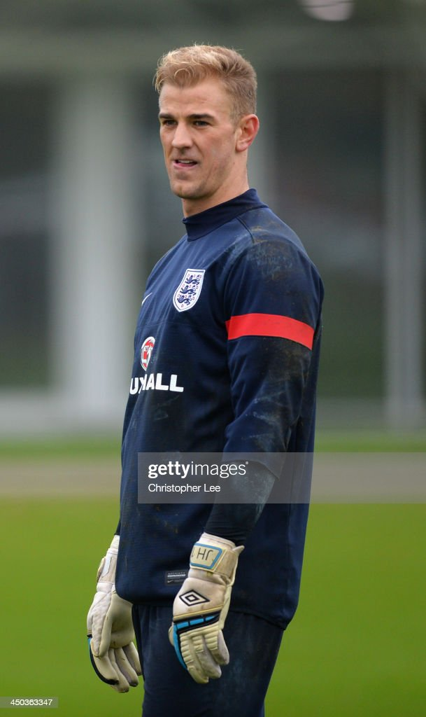 Joe Hart concentrates during England Training at London Colney on November 18, 2013 in St Albans, England.
