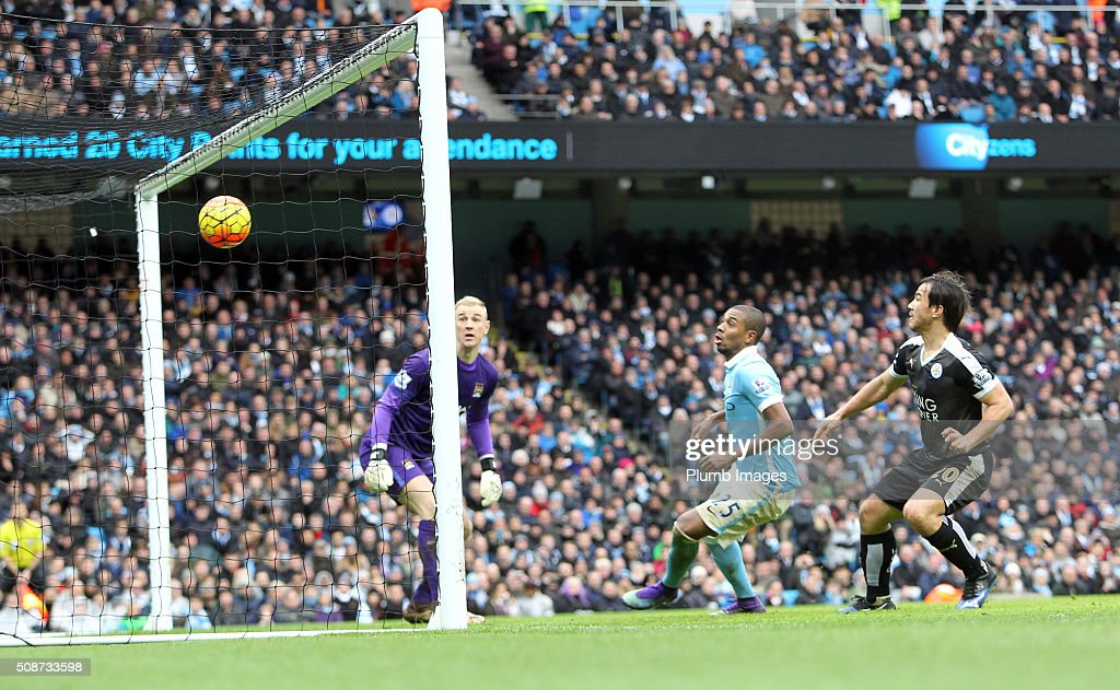 Joe Hart looks on as Robert Huth (Npt pictured) of Leicester City scores to make it 0-3 during the Premier League match between Manchester City and Leicester City at Etihad Stadium on February 6, 2016 in Manchester, United Kingdom.