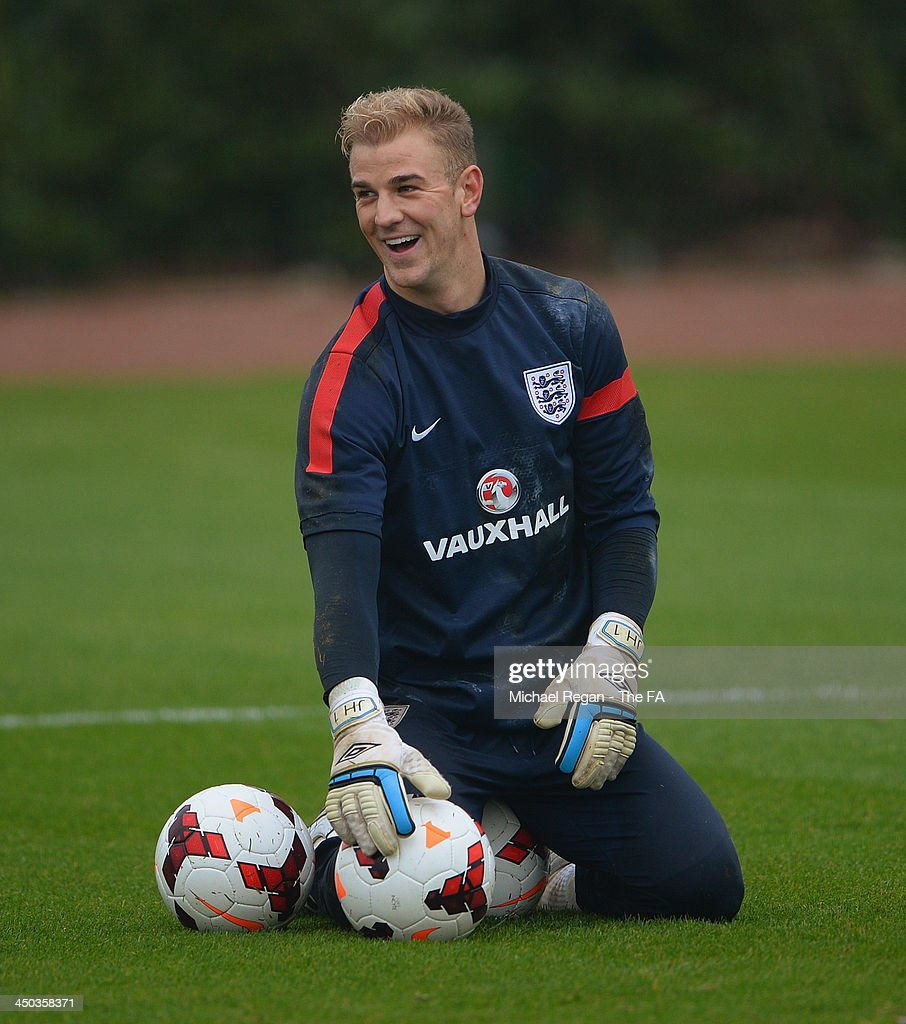 <a gi-track='captionPersonalityLinkClicked' href=/galleries/search?phrase=Joe+Hart&family=editorial&specificpeople=1295472 ng-click='$event.stopPropagation()'>Joe Hart</a> looks on during the England training session at London Colney on November 18, 2013 in St Albans, England.