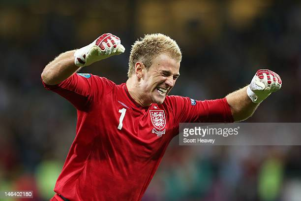 Joe Hart of England celebrates after Danny Wellbeck of England score their third goal during the UEFA EURO 2012 group D match between Sweden and...