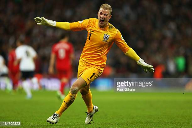 Joe Hart of England celebrates as Steven Gerrard of England scores their second goal during the FIFA 2014 World Cup Qualifying Group H match between...